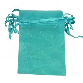 Petit sac cadeau organza pas cher bleu