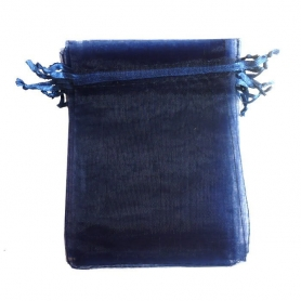 Organza bleu pochette cadeau 9x15