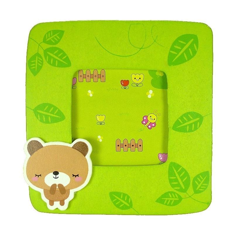 Cadeaux invites bapteme cadre photo en bois ours  Cadre