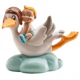 Figurine pour Baby Shower avec Cigogne Couleur: bleu ciel, rose