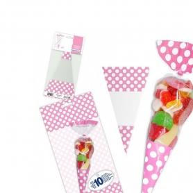 Sachet Cornet pour Bonbons Couleur: rouge, rose, bleu ciel