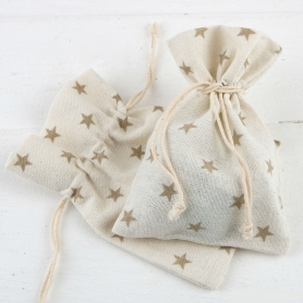 Petite Bourse Coton Rustique Étoiles