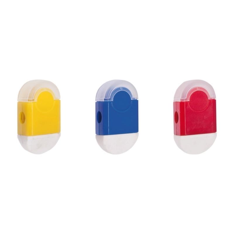Gomme avec Taille-crayon Couleur: jaune, bleu, rouge