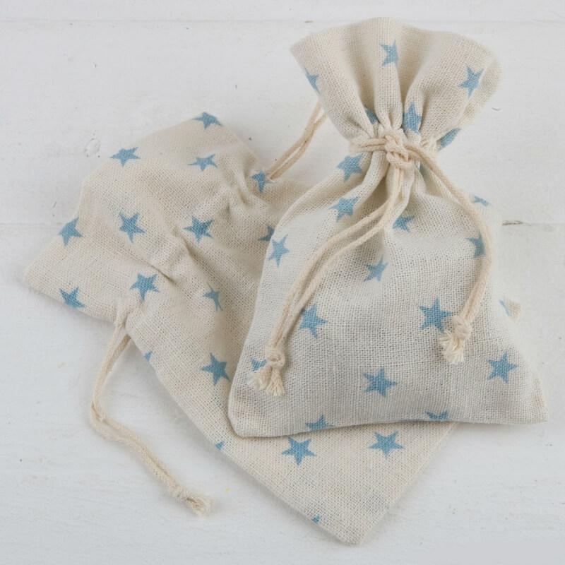 Petits Sachets Tissu Écru avec Étoiles Couleur: rose, bleu Sacs