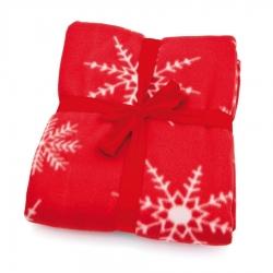 Couverture Rouge avec Flocons de Neige