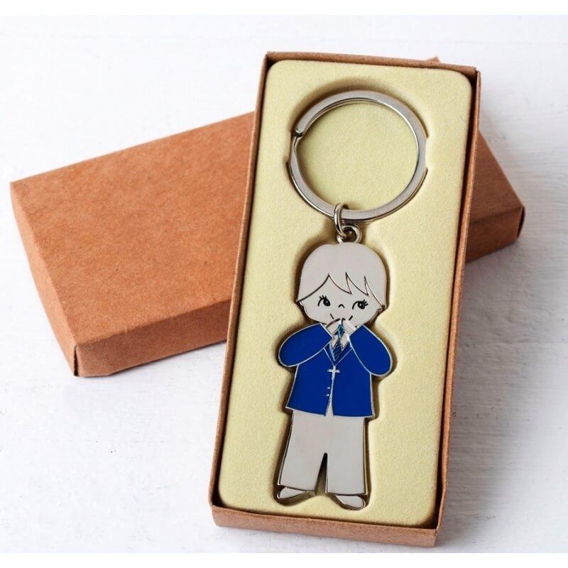 Porte-clés Kraft de veste Blue Jacket Communion Boy
