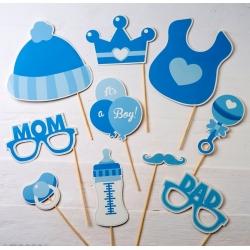 Postiches pour enfants en bleu, 10 pièces