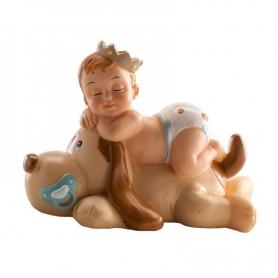 Figura de Bautizo Niño Durmiendo con Perro  Figurine pour
