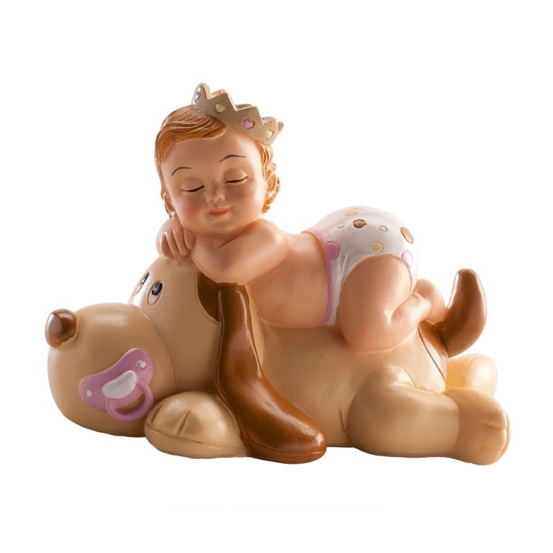 Figurine de Baptême Petite Fille au Chien  Figurine pour Gateau