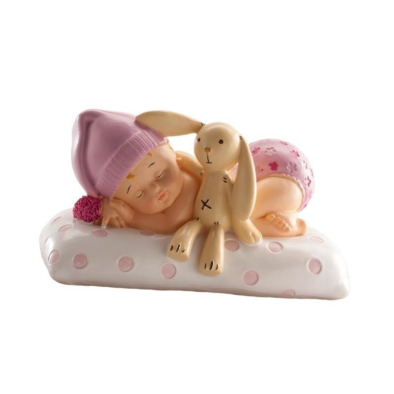 Figurine baptême Petite Fille à la Peluche  Figurine pour