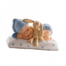 Figurine de Baptême Bébé avec Peluche  Figurine pour Gateau