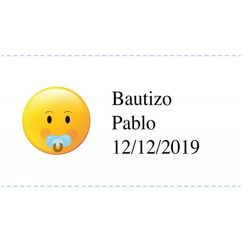 Adhésif Personnalisé Baptême Emoji